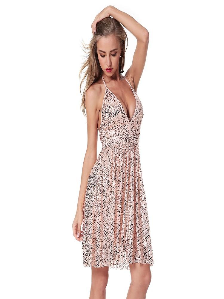612c66d436cdb Women's Deep V-neck Silver Sequined Backless Sexy Dress Women's Off ...