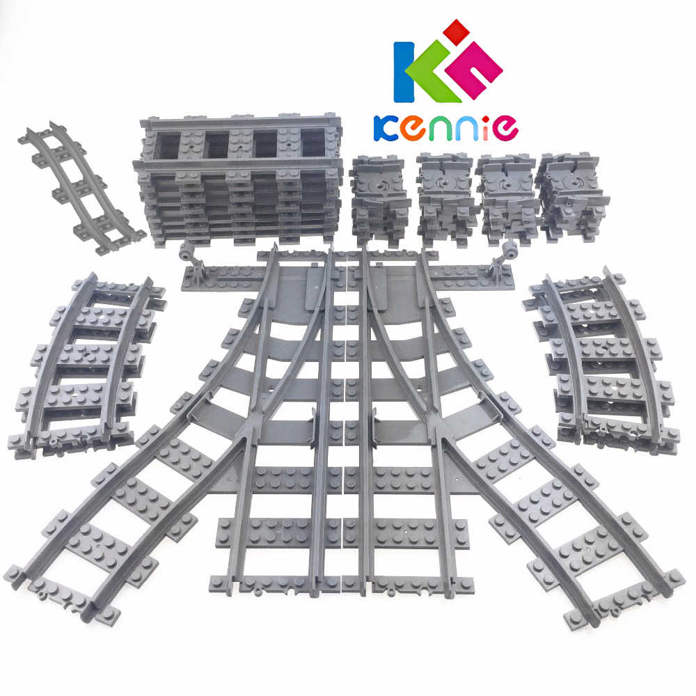 Flexible City Compatible with lego Trains Rails Track Railway model sets Forked Straight Curved Building Blocks