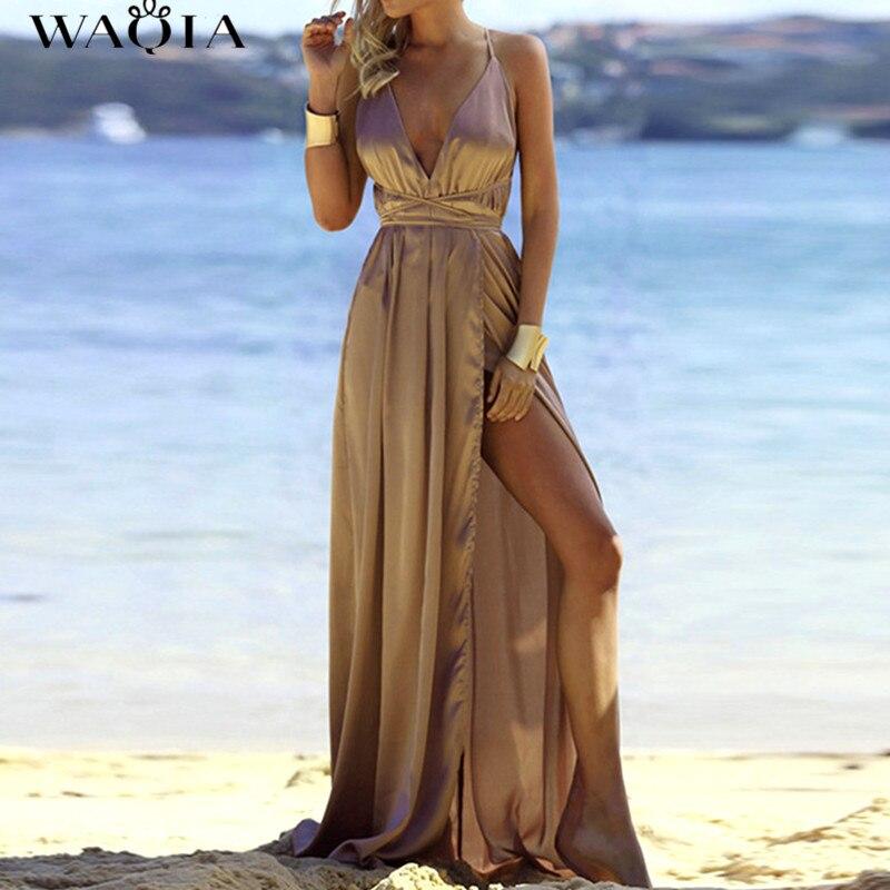 Maxi Party Dress Women Beige Plunge Neck Sexy Cross Back Wrap High Slit Summer Dress 2017 Elegant Club Long Cami Dress vestidos