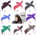 Free shipping Retro Wire Headband Head Hair Band Head Wrap Polka Dot Rockabilly Bunny Ears bandeaux