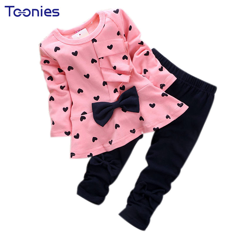 Heart Pattern Girls Clothes Kids Long Sleeve T-shirt + Pants Casual Suits Baby Girls 2 pc Set Bow Children Girl Clothing 1-3 Yrs 2016 hot selling baby kids girls one piece sleeveless heart dots bib playsuit jumpsuit t shirt pants outfit clothes 2 7y