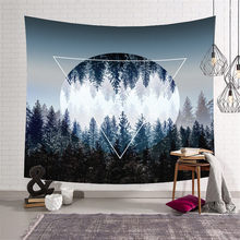 купить Beautiful Night Sky Wall Tapestry Carpet Wall Hanging Forest Starry Night Tapestries For Living Room Bedroom Home Decoration по цене 741.19 рублей