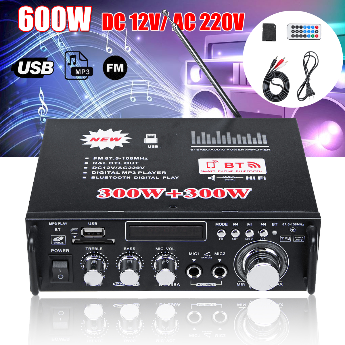 600W 12V 220V USB Car Bluetooth HiFi Stereo Audio Power Amplifier Remote Control for Car Auto Home Audio USB Flash Disk Radio hifi 2 1 channel edr bluetooth car amplifier subwoofer usb u disk auto stereo audio amplifier with remote control power adapter