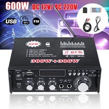 600W 12V 220V USB Car bluetooth HiFi Stereo Audio Power Amplifier Remote Control