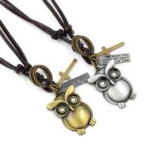 Owl Necklace Korean Vintage Retro Leather Cord Cute Pendant Female Women Men Cartoon Long Sweater Chain Antique Silver Bronze