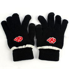 Anime Naruto Akatsuki Member Red Cloud symbol Full finger Plush knit gloves winter warm handschoenen Free shipping