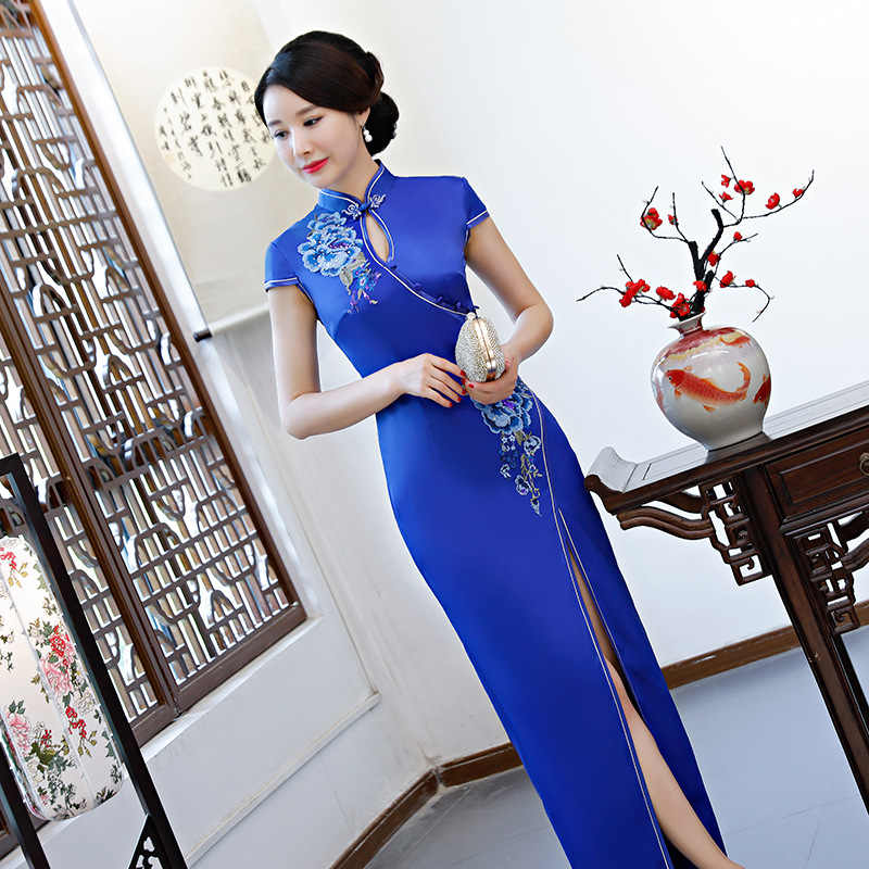 Seksi Mavi Kadın Uzun Cheongsam Bahar Yaz Eski Çin tarzı Elbise Bayan Qipao Ince Parti Elbiseler Düğme Vestido S-4XL