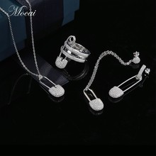 Top Quality Fashion Jewelry Sets Unique Silver Pin Asymmetry Earrings Necklace Brand Design Brooch Earring zk40