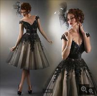 Fashion Scoop Neck Lace Applique Black Tulle Homecoming Dresses 2016 Cheap Knee Length Party Gown Robe