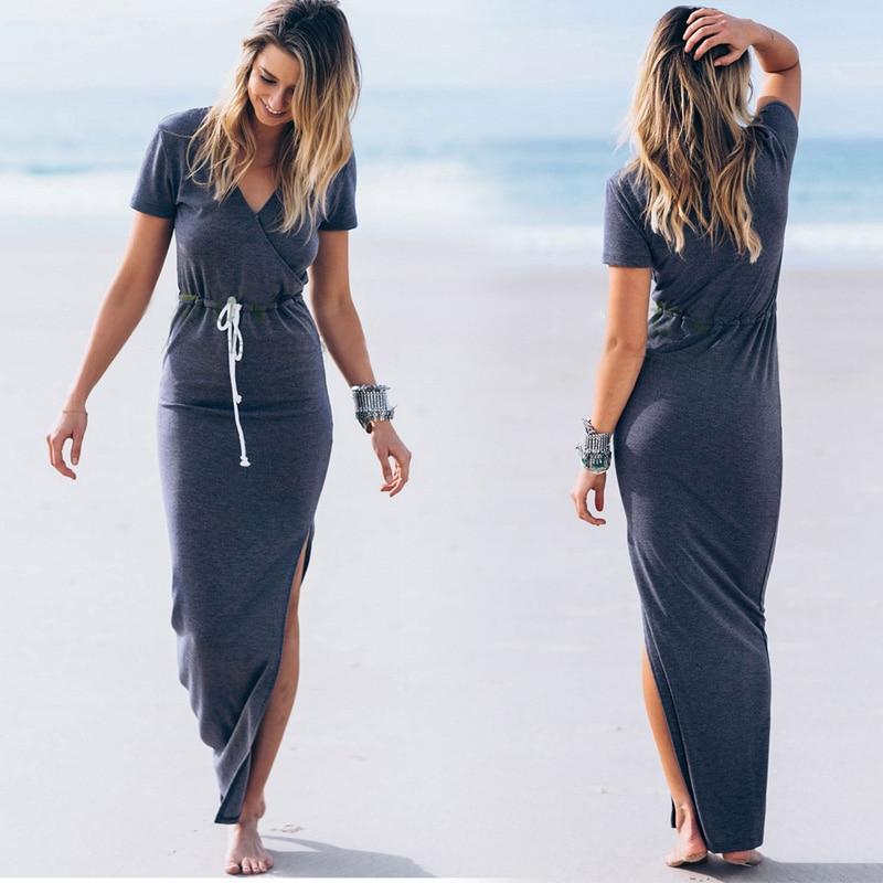 Mode Kvinnor Klänningar Sexy Deep V Neck Beach Style Maxi Long Evening Party Dresses Vestidos Moderskapsklänningar Plus storlek