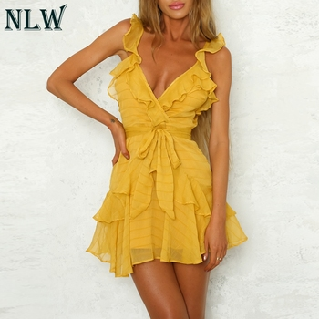NLW Deep V Neck Yellow Sexy Dress Ruffle Bow Women Dress Green Solid Casual Bohemian Beach Dress Vestidos