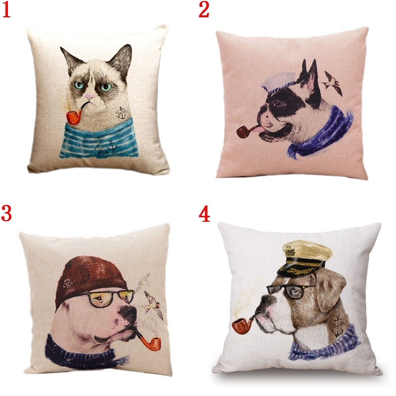 Pillow Case Dogs and Cats Pipe Soldiers Cotton linen cushion Car Sofa Chair Cushion Square 18x18 inches Cushion cover Home Decor