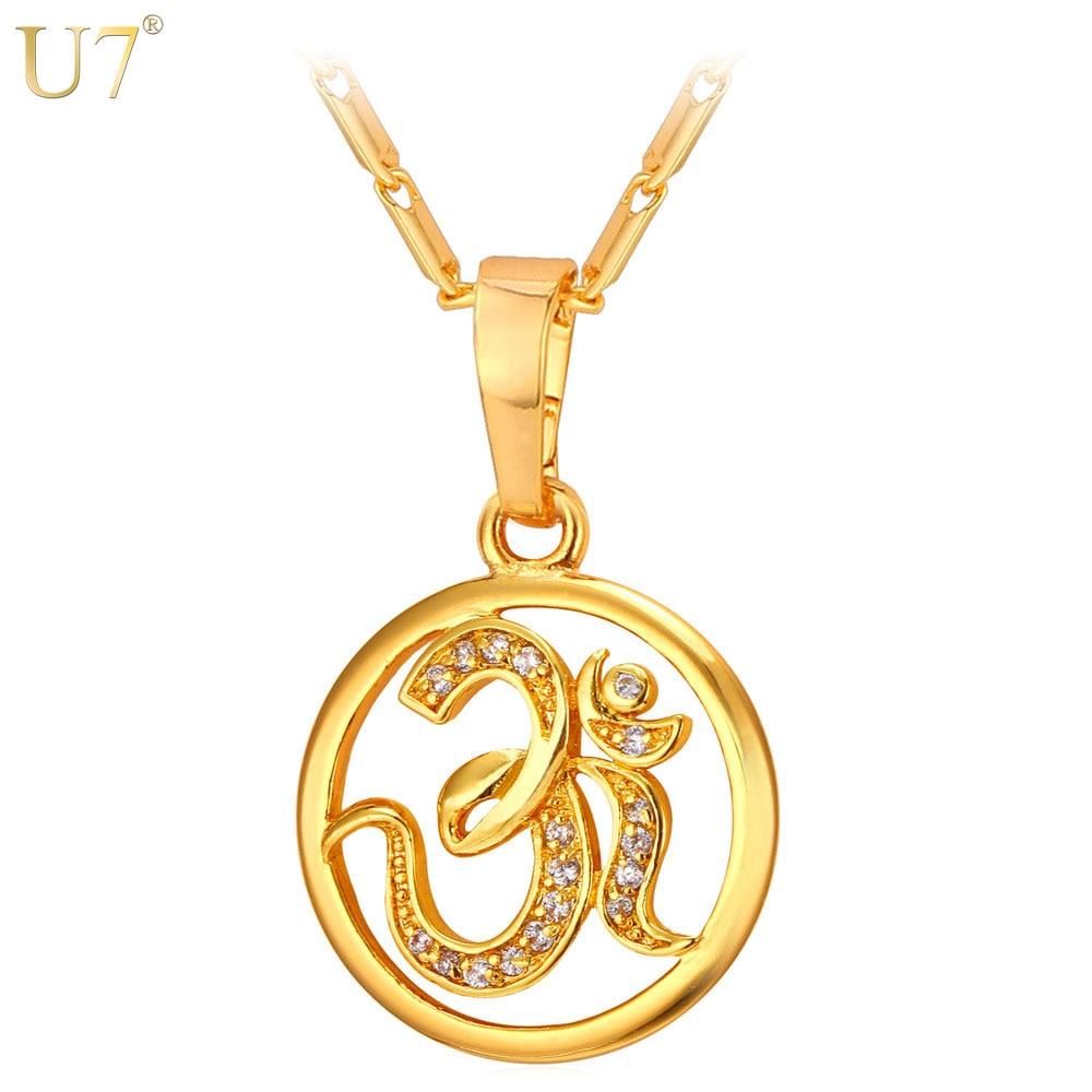 U7 AUM OM Pendant Charm Necklace Zircon India Hinduism ...