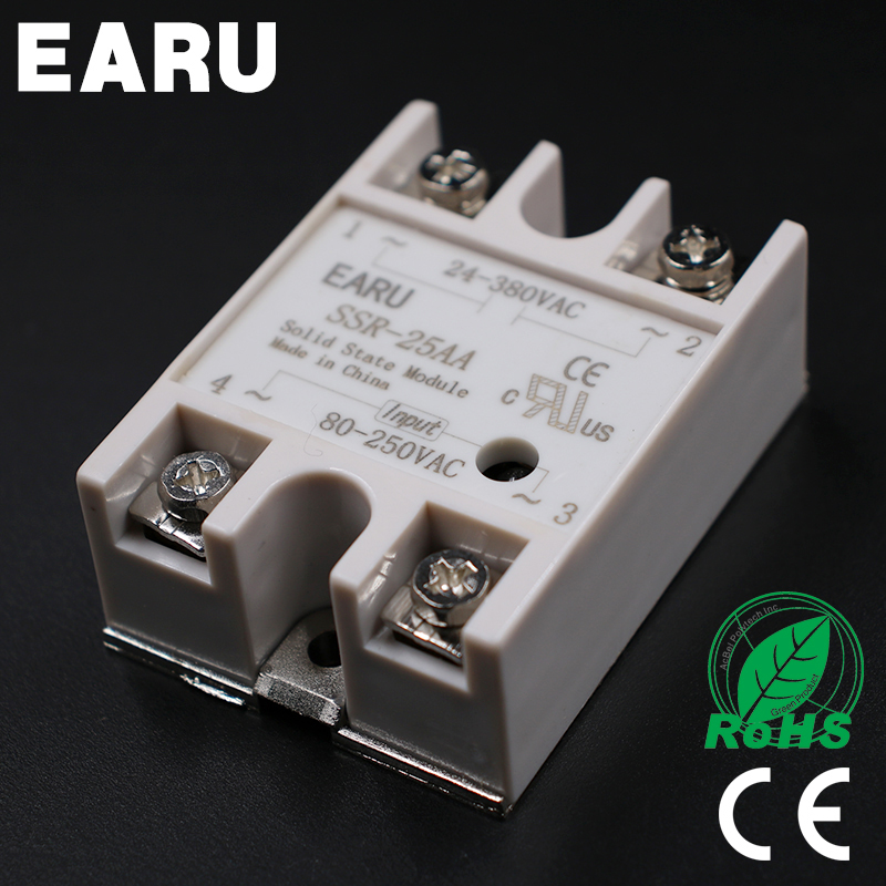 Solid State Relay Module SSR-25AA SSR-25 AA SSR 25A 80-250VAC Input to 24-380VAC Output Industry Control