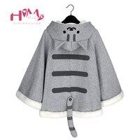Neko Atsume Kitty Mèo Áo Len Hoodie Cloak Choàng Bông Mùa Thu Mùa Đông Trùm Đầu Hoodies Nữ Stereo Ear Stereo có thể tháo rời Đuôi