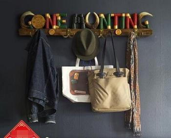 Country decoration wall hanging clothes hook coat hanger creative clothing store household porch door personality key hook