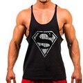 Горячая Супермен жилет без рукавов Мужские Топы Фитнес Бодибилдинг мужская Золотые Стрингер майки Одежды M-2XL