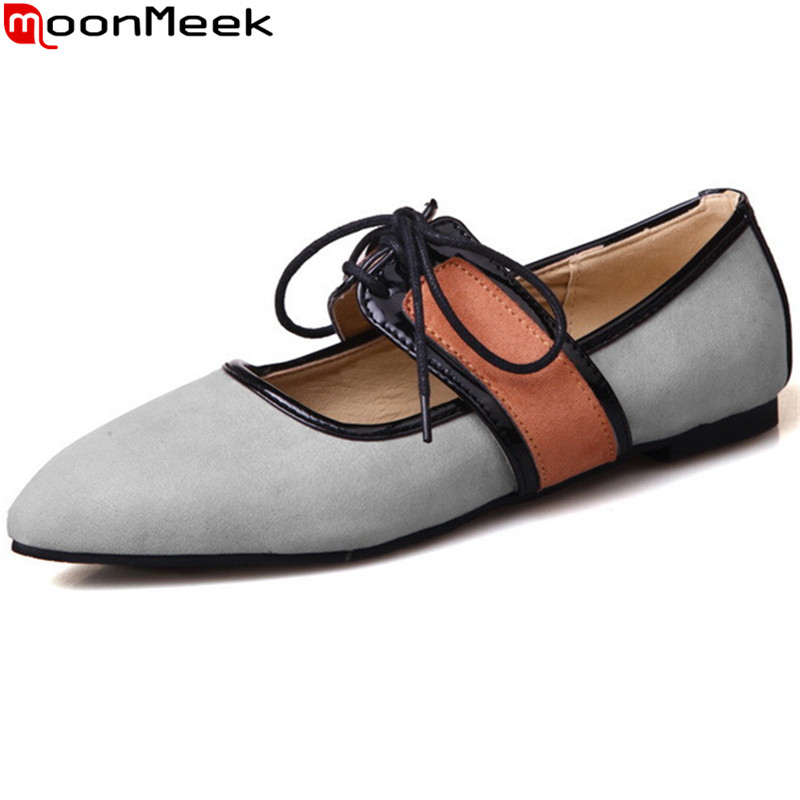 MoonMeek 2017 hot sale new arrive women flats fashion mixed colors lace up pointed toe woman shoes simple comfortable fashion women shoes woman flats high quality comfortable pointed toe rubber women sweet flats hot sale shoes size 35 40