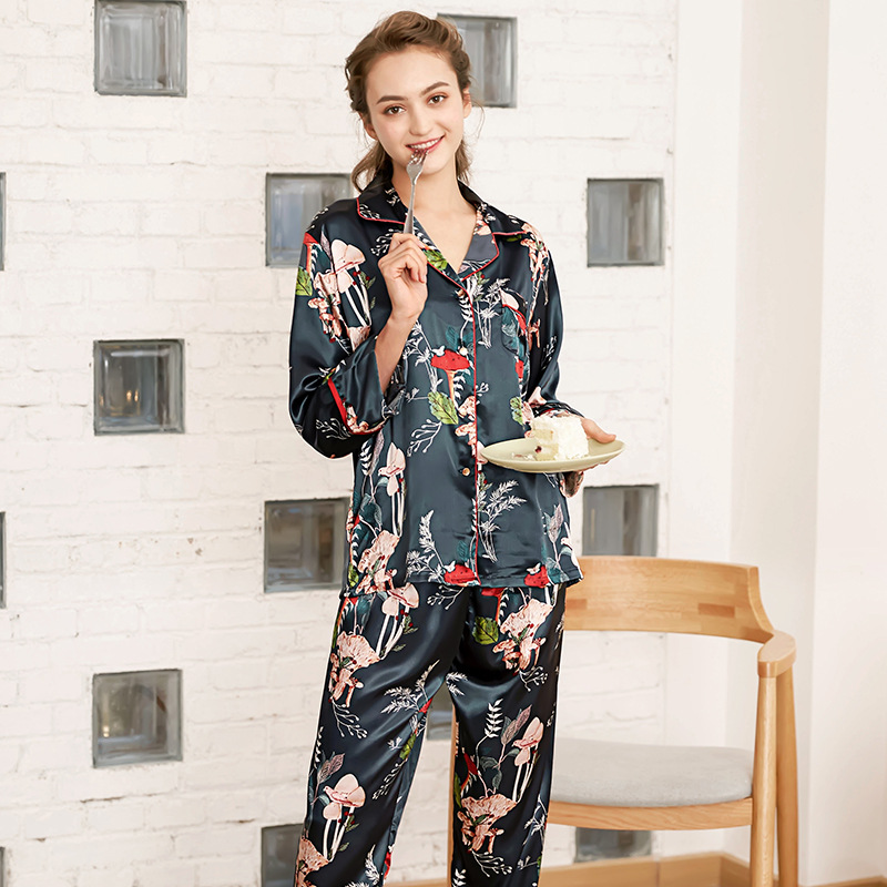 Spring New   Pajamas     Set   Women   Pajamas   Suit Print Sleep   Set   Silky Feel 2PCS Sleepwear Soft Shirt&Pant Long Sleeve Home Wear