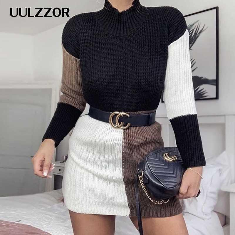UULZZOR элегантное вязаное платье женское осеннее платье с воротником-стойкой женское черно-белое клетчатое платье-свитер сексуальный праздничный зимний свитер vestido