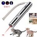 3 в 1 Мини красная лазерная указка USB Перезаряжаемый Фонарик перезаряжаемый УФ-Фонарик Lazer Ручка Powerpoint многофункциональные 50 м лазеры