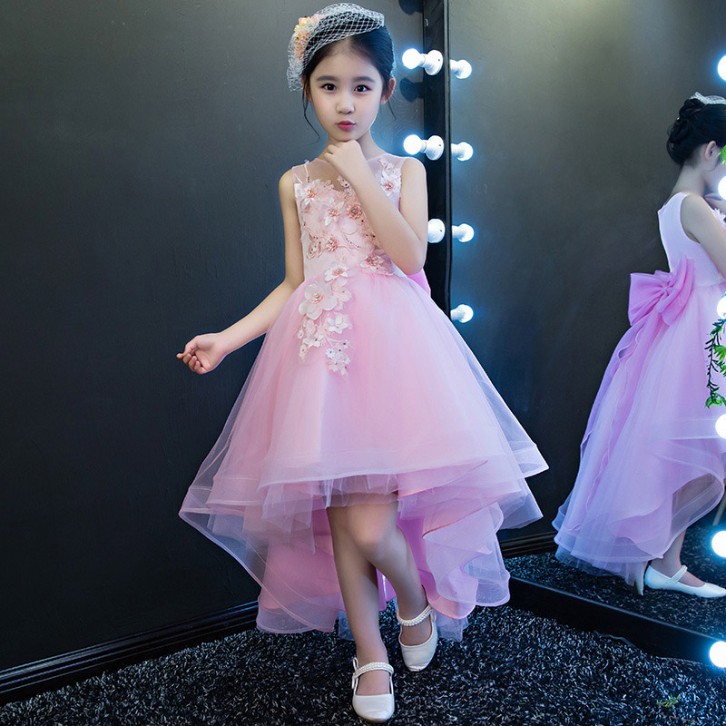 2018 New Children Girls Wedding Party Princess Dresses Kids Girls Flower Formal Bridesmaid Evening Birthday Ball Gown Dress E148 kids girls flower dress baby girl butterfly birthday party dresses children fancy princess ball gown wedding clothes