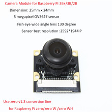Raspberry Pi 3 Model B 5MP Night Vision Camera OV5647 Fisheye Webcam 1080P Wide-angle Camera Module for Raspberry Pi 3B+/3B/2B for raspberry pi 3 model b camera module 1080p camera 5mp webcam video camera compatible for raspberry pi 2 model b