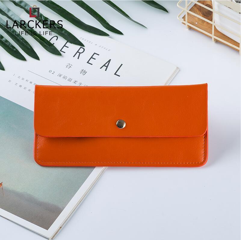Тонкий женский кошелек из лакированной кожи с молнией сзади, длинный клатч, Модный женский кошелек, держатель для карт, женский кошелек - Цвет: Оранжевый