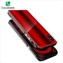 معدن الوفير حقيبة لهاتف أي فون X XR XS ماكس الزجاج المقسى الغطاء الخلفي الألومنيوم معدن الوفير صدمات حقيبة لهاتف أي فون 8 7 6s Plus