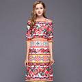 Fashion Dress 2017 New European Style Half Sleeve Slim Print Summer  Knee-Length High Street Dress