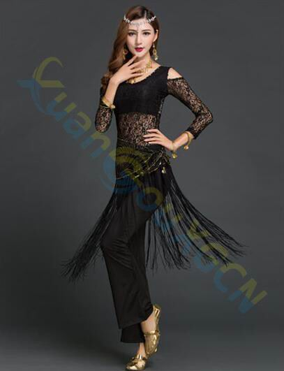lace Jazz Latin dance Clothes performance Suit belly dance dress tops pants tassel waist chain set Dancer Practice Costume Set belly dance eastern diamond embroidery skirts bra dress costume for oriental dance dancing belt for belly dancing suit set 2104