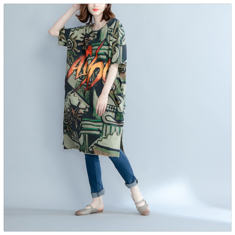 4XL 5XL 6XL Plus Size Women Clohting European Style Short Sleeve Camouflage Tshirt  Dress Big Size Casual Summer Dresses QZ1368-in Dresses from Women s ... 02bcdadcacfe