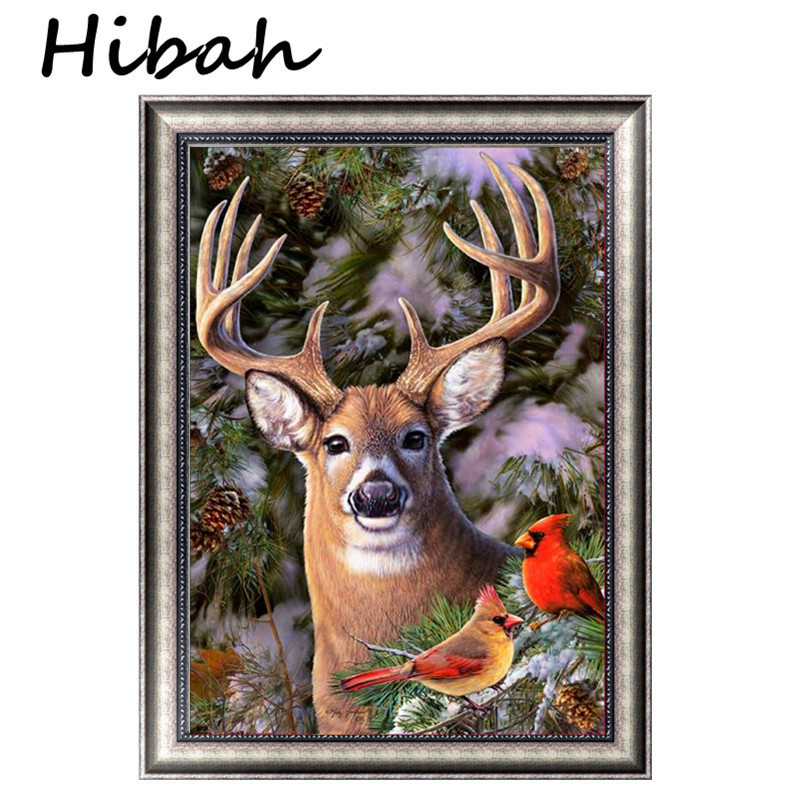 5D Diamond Embroidered Deer Diy Diamond Painting Cross-stitch Picture Round Diamond Mosaic Home Decor