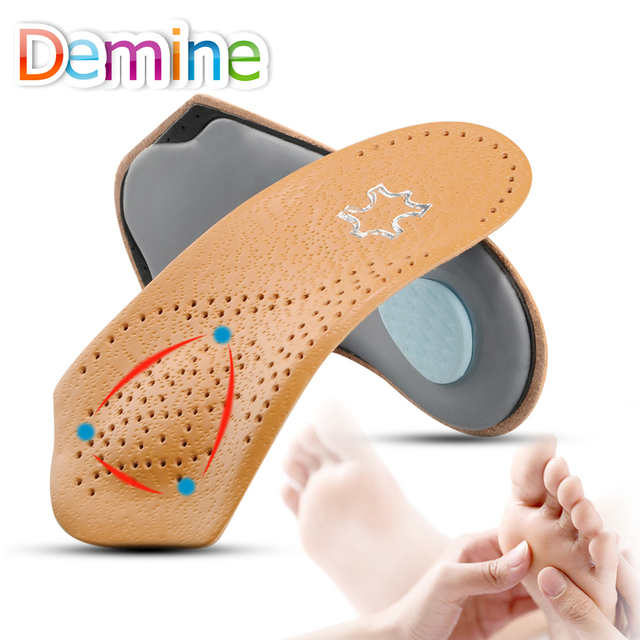 b33975a99b 3/4 Length Leather Orthotic Insoles for Flatfoot Heel Arch Support Pads  Half Orthopedic Shoe