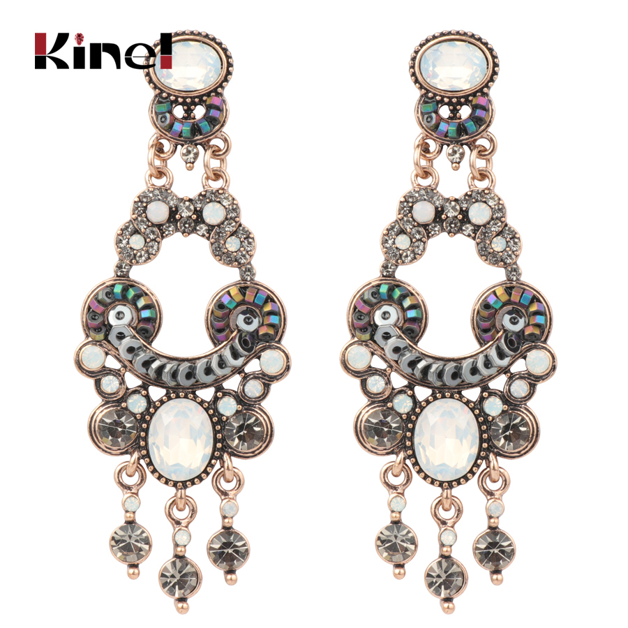 Kinel Luxury Boho Ethnic Earring For Women Antique Gold Color Party Crystal Opal Big Earrings Vintage Wedding Jewelry