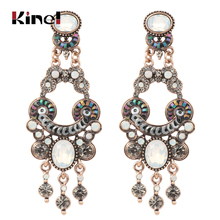 Kinel Luxury Boho Ethnic Earring For Women Antique Gold Color Party Crystal Opal Big Earrings Vintage Wedding Jewelry kinel 2020 new boho ethnic big drop earrings antique gold color beach gray crystal bridal earrings for women vintage jewelry