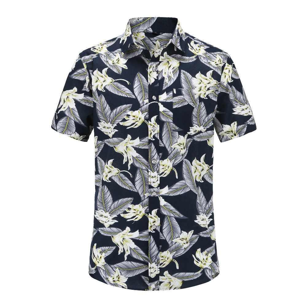 Летние мужские рубашки с принтом новые модные стильные повседневные Гавайские рубашки с цветочным принтом Мужская одежда большого размера зауженные официальные