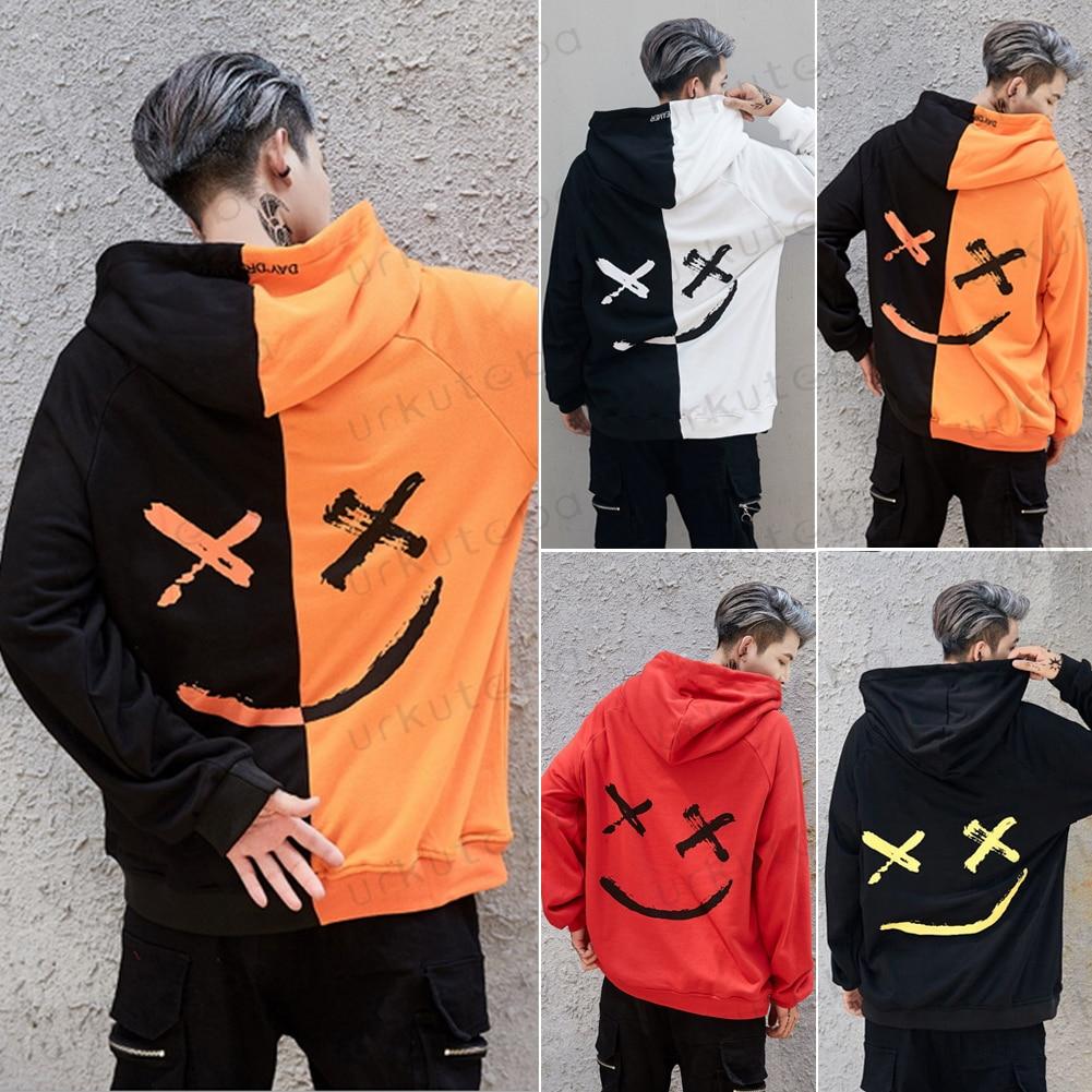 HTB1Ha36X6zuK1RjSspeq6ziHVXal 2019 New Men Hoodies Sweatshirts Smile Print Headwear Hoodie Hip Hop Streetwear Clothing Us size Plus Size 3XL
