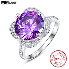 brand jewelry 7.5ct Natural Gem Stone Purple Amethyst Engagement Ring 925 Sterling Silver Round Cut Fashion Fine Accessory