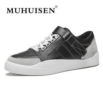 2018 Genuine Leather Men's Vulcanized Shoes Black White Mans Footwear Flats Sneakers Casual Shoes sapato masculino