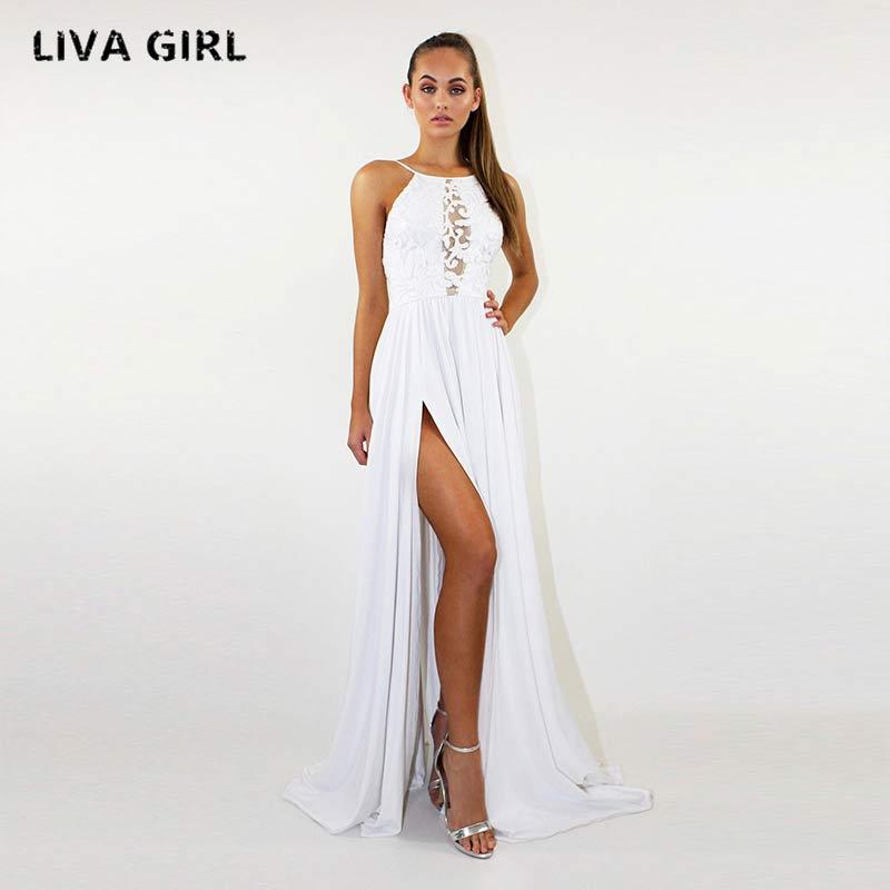 Buy liva girl Women Shoulder Boho Floral Print Dress Women Sexy Backless Summer Beach Halter Maxi Long Dresses Vestidos