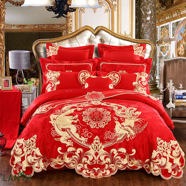 2018 Luxury Gold Dragon Embroidery Jacquard 4 8pcs Bedding