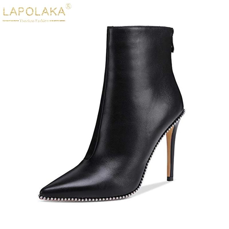 Chaussures Cheville Up Nouvelle Zip Mince Pointu Bottes Lapolaka Bout 43 Noir Femme Taille Parti Sexy Hauts Grande Dropship Femmes À Talons cFJlK1