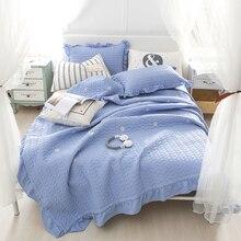 J pinno кровать диван крышку полный Стёганое одеяло устанавливает покрывало легкий синий цветок ромашка покрывало наволочку рябить летом одеяло