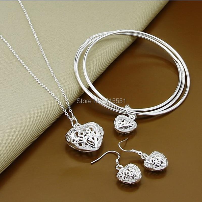 cad6e4a0cdb95 الأزياء الفضة طقم مجوهرات الفضة شام قلادة واقراط و سوار ، أعلى جودة الفضة  مجوهرات الزفاف للنساء