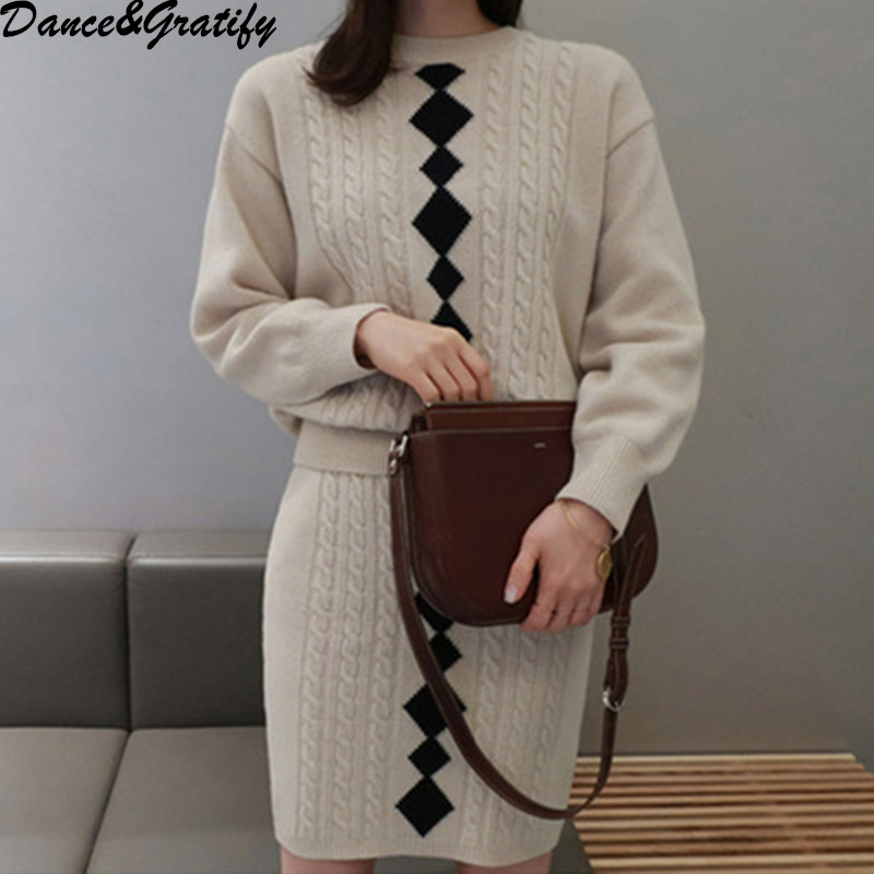 2018 Autumn Winter Women Office Work Set High Waist Knitted Skirt And Pullover Thicken Warm Sweater Casual 2 Piece Suit