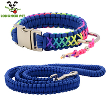 ФОТО high quality parachute cord dog collar rainbow handmake paracord pet collar silvery buckle d ring with chinese knot for any dog