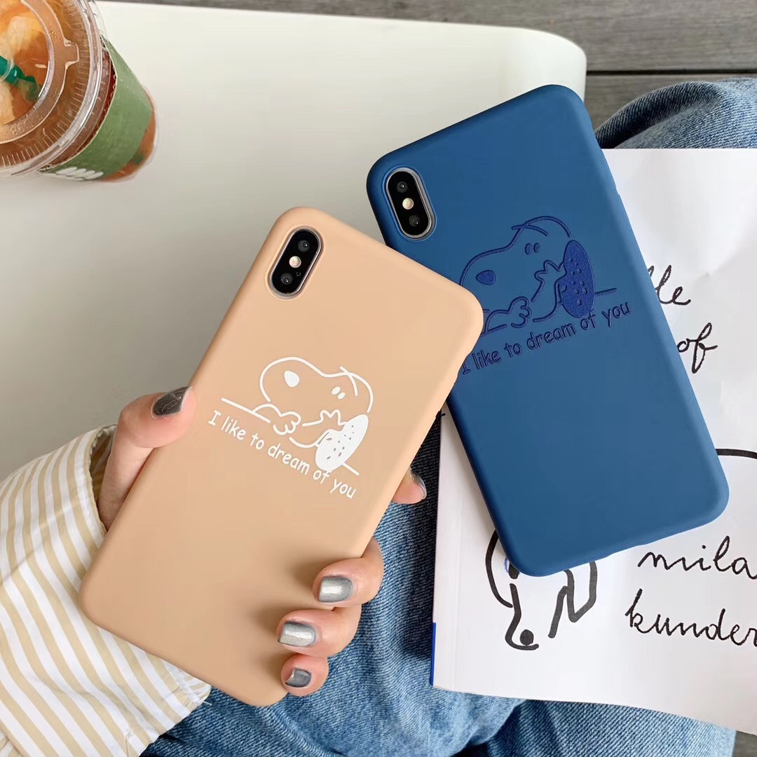 Japan cute cartoon classic anime puppy peanut phone case For iphone Xs MAX XR 6 6s 7 8 plus couple candy soft TPU Cover Capa
