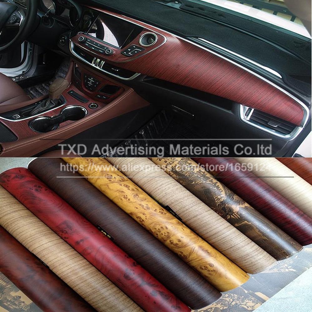 Car interior brown - Promotion 10 124cm Lot Wood Pvc Film For Car Interior Decoration Wood Pvc Vinyl