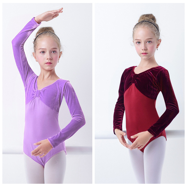 2d0ac1d41d93 Winter Baby Girls Leotards Velvet Long Sleeve Ballet Dance Leotards ...